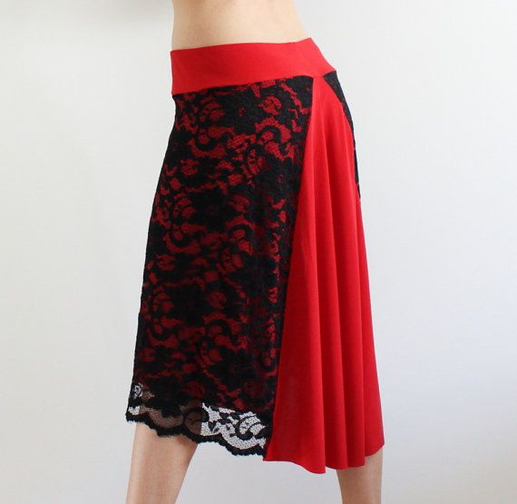 Argentine Tango skirt Red end Black Lace by CrinolinAtelier