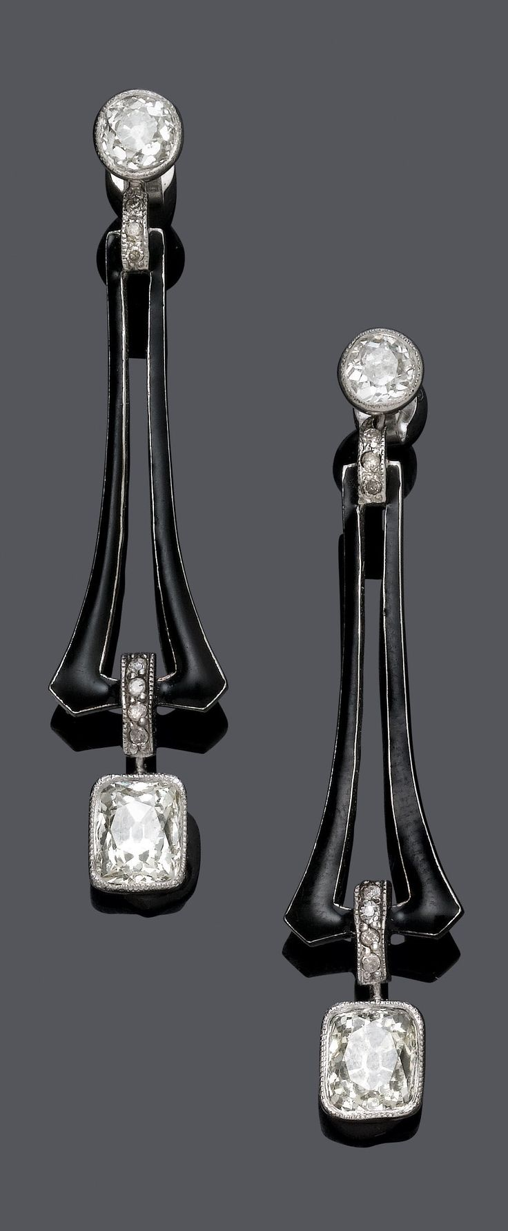 ART DECO ENAMEL AND DIAMOND EARRINGS