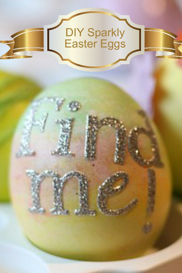 DIY Sparkly Easter Eggs are perfect for decorating your home for Easter. Put them in a pretty bowl and you have a lovely center piece or use them on top a napkin on the center of your Easter plate.