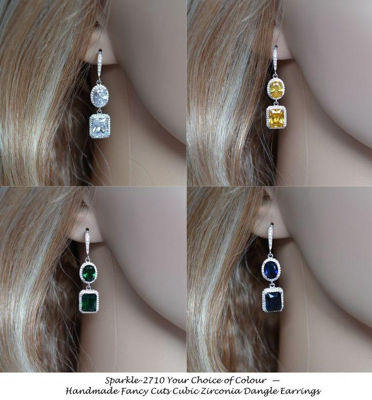 Your Colour Choice - Handmade Cubic Zirconia CZ Dangle Earrings (Sparkle-2710) #Handmade