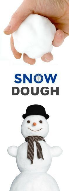 2-INGREDIENT SNOW DOUGH - it's icy-cold just like real snow & so soft! A must try playtime for kids! #snowplayrecipe #snowdough #wintercraftsforkids