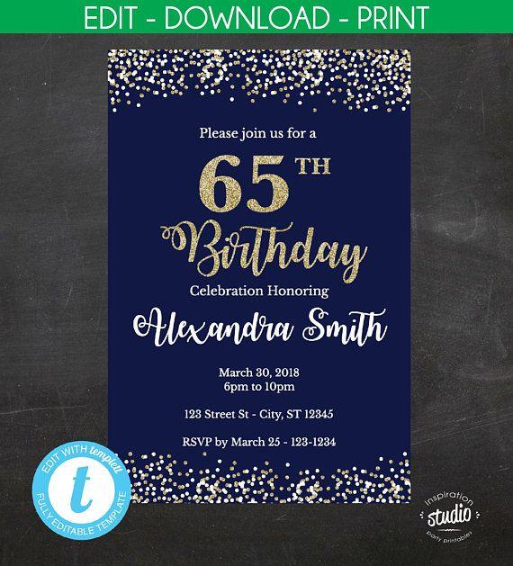 65th Birthday Invitation 65th Birthday Invite Blue And Gold Etsy 65th Birthday Invitations Birthday Invitations 65th Birthday