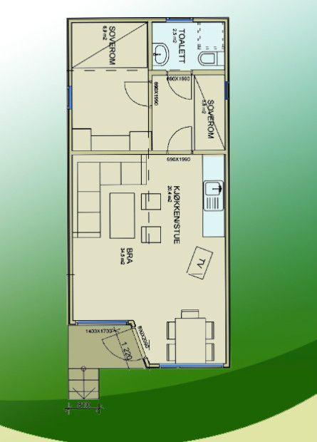 Kart over hyttene på Tingsaker Familiecamping