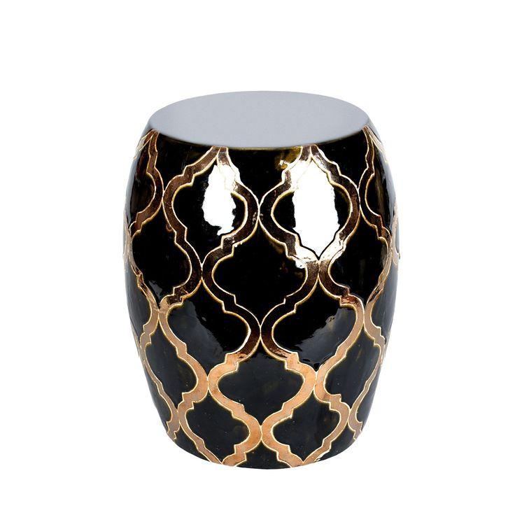 Ceramiczny stół Fa'do #stół #stolik #table #ceramiczny #ceramika #ceramics #shine #gold #black #czarny #wzór #pattern #marokańska #koniczyna #morocco #clover #unique #nowość #new #amiou #onemarket.pl
