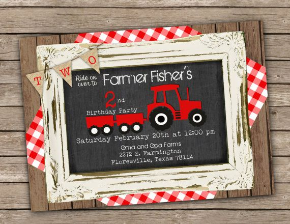 Red Tractor Birthday Party invitation  printable by PartyGirlPress