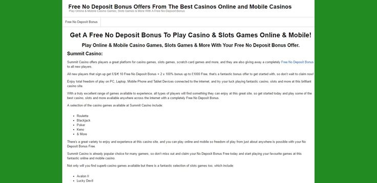 Claim a totally Free No Deposit Bonus now from Gravy Train Bingo and many more top sites to play bingo games, casino games, slots games and more. Claim Your huge free bonuses from our site today! Visit http://free-no-deposit-bonus.com