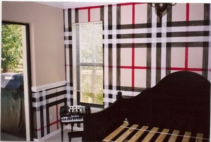 Plaid walls feels like Burberry to me Love it Home