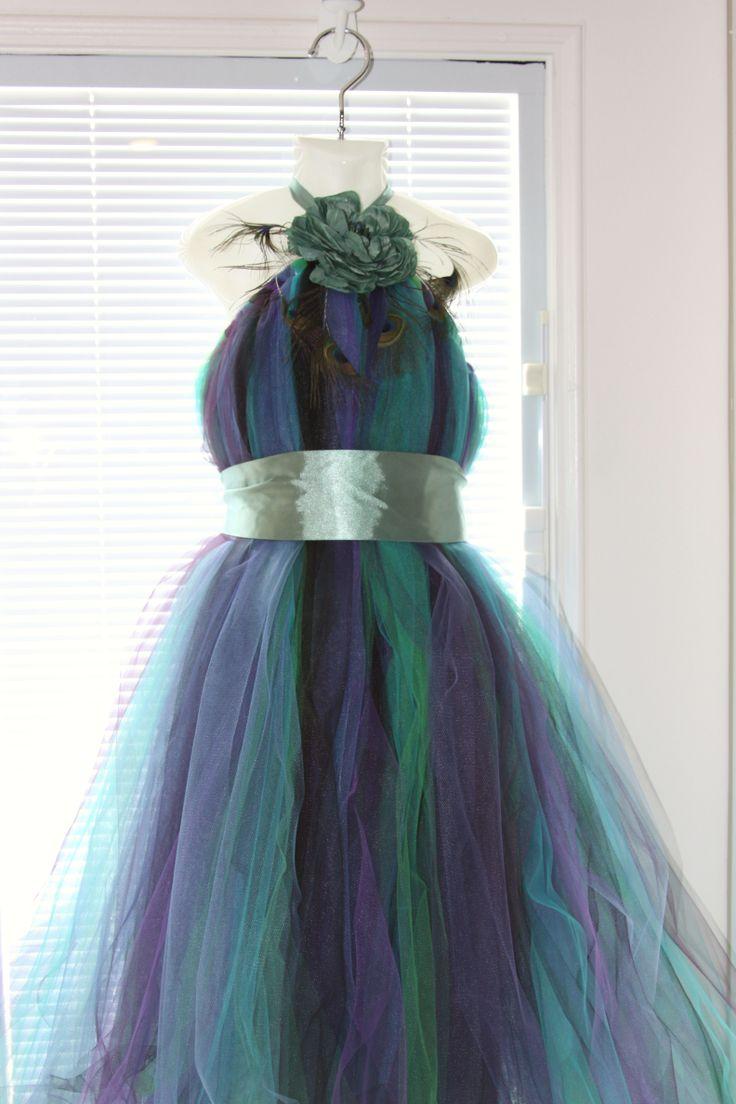 peacock dress for older flower girl or jr. bridesmaid