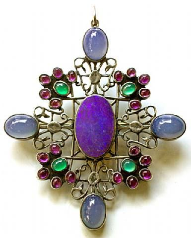 Sibyl Dunlop, Arts & Crafts Pendant/Brooch, silver, opal doublet, amethyst and chalcedony, English, circa 1925