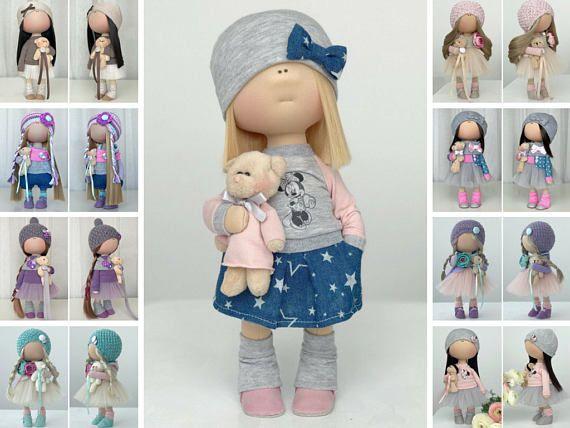 Cloth doll Tilda doll Art doll Stoffpuppe Poupée Handmade doll Fabric doll Textile doll Bambole Rag doll Puppen Muñecas Blue doll Yulia K