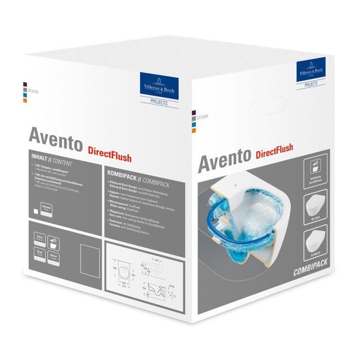 In dem Bild sehen Sie Villeroy & Boch Avento Combi-Pack mit Wand-Tiefspül-WC DirectFlush mit offenem Spülrand L:53xB:37cm weiß mit CeramicPlus mit WC-Sitz mit Absenkautomatik 5656HRR1