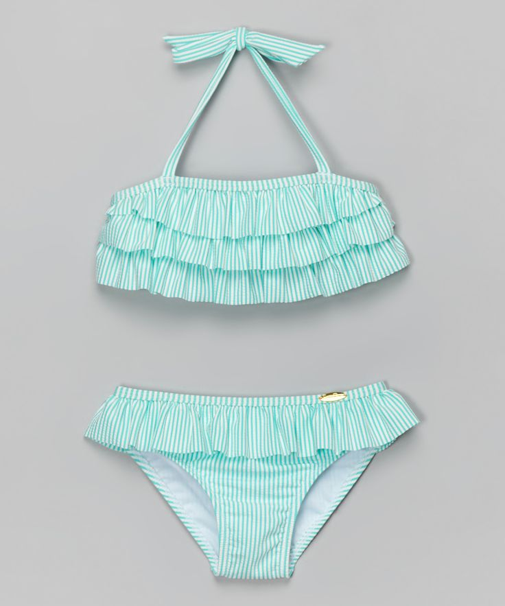 Jessica Simpson Collection Turquoise Ruffle Seersucker Bikini - Toddler & Girls | zulily