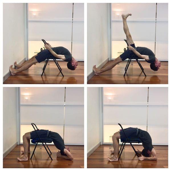 Learn Iyengar Yoga Chair Backbends Dwi Pada Viparita Dandasana And Eka Pada Viparita Dandasana Are Shown Here With Step By Iyengar Yoga Iyengar Yoga Backbend