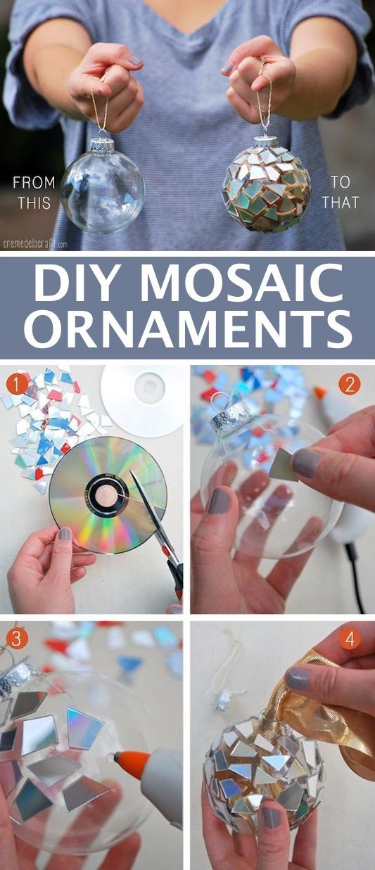 DIY ornaments for Christmas using broken CDs! -- Easy DIY craft ideas for adults for the home, for fun, for gifts, to sell and more! Some of these would be perfect for Christmas or other holidays. A lot of awesome projects here! Listotic.com
