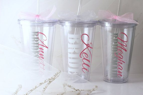 Pink & Silver Wedding Bridal Party Personalized by KatiePieDesigns