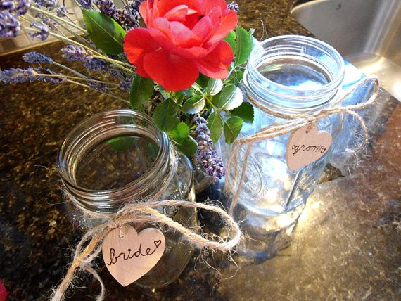 Bride And Groom Mason Jar Cups For Rustic Wedding Gift Bridal Shower Country Shabby Chic