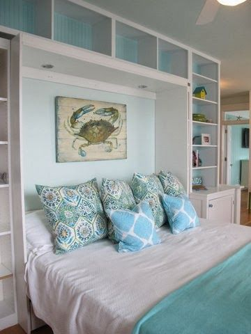 Jane Coslick Cottages. What if I built shelves around my bedroom window?
