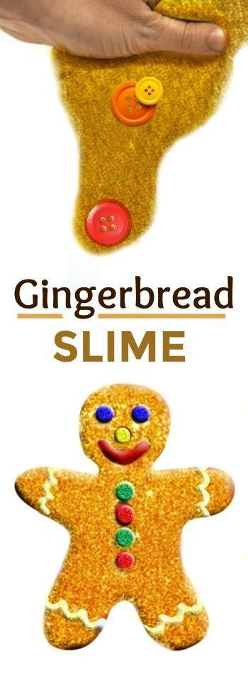 GINGERBREAD SLIME: 2 ingredients & so many fun ways to PLAY! Ooey-gooey kid fun! #christmasslimerecipes #slimerecipesforkids #kidscrafts #christmascraftsforkids