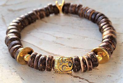 Trendiges Buddha Armband mit Kokosholz Perlen Armband GOLD