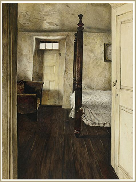 Andrew Wyeth 'Four Poster' 1946 drybrush watercolor (greenvillemuseum) copy: