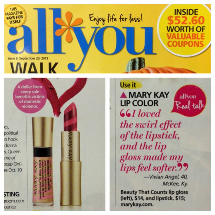 Look good while giving back! All You Magazine featured the Special-Edition† Beauty That Counts® Mary Kay® Creme Lipstick and NouriShine Plus® Lip Gloss in their September issue!