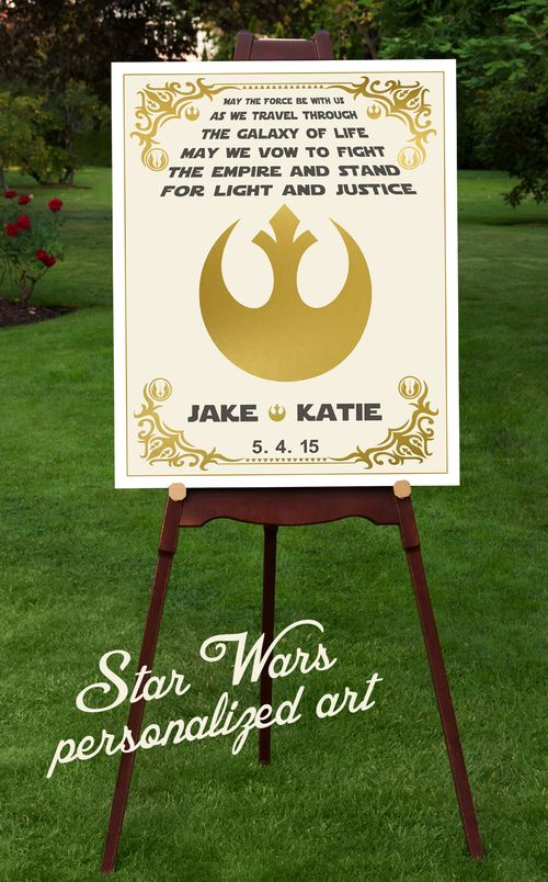 A great gift for that couple who loves Star Wars. Personalize with names and date for a truly one of a kind keepsake.