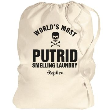 Stephen's smelly laundry bag | What an awesome gift to give your son, father, uncle or Grandpa! They will love the humour and have a place to store thier laundry until cleaning.