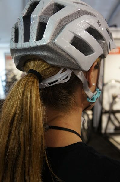 2013 Specialized womens bicycle helmets with ponytail friendly Hairport rear retention mechanism