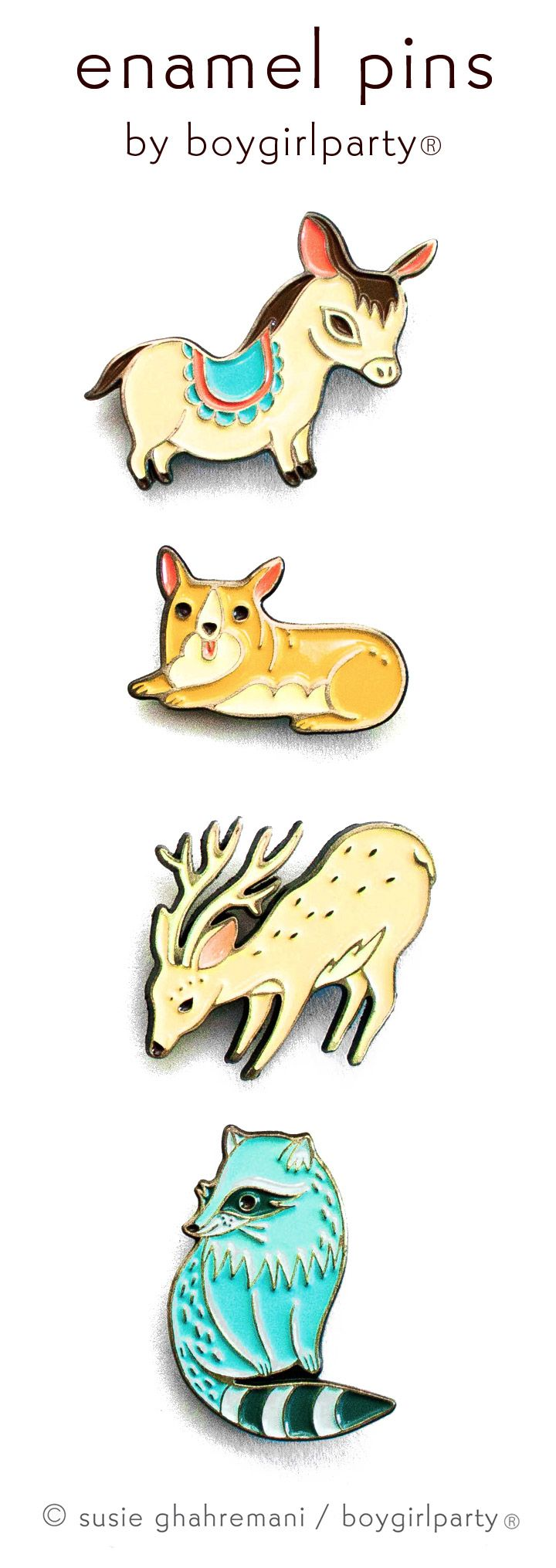 Enamel Pins by Boygirlparty / Susie Ghahremani @boygirlparty -- available at http://shop.boygirlparty.com