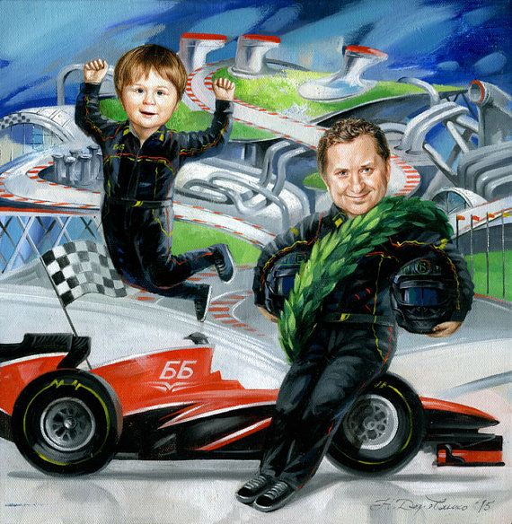 Free shipping Family Portrait illustration Fairytale art canvas painting custom portrait from photo, couple portrait son father race cars