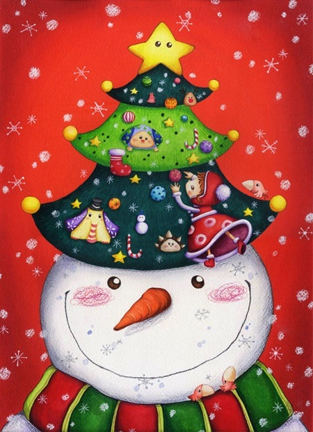 Snowman decorated for Christmas! How cute! Aline ♥