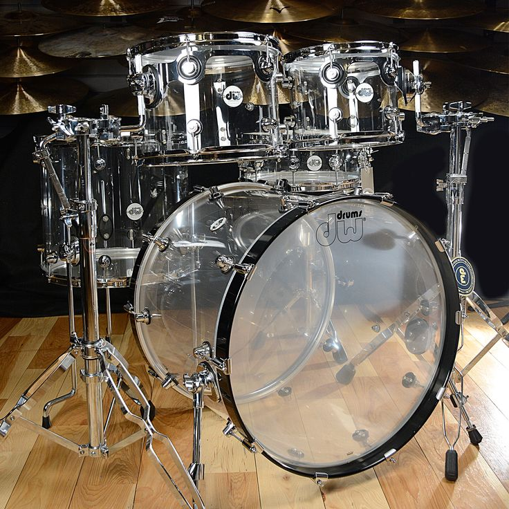DW Design Series 10/12/16/22/5.5x14 5pc Drum Shell Drum Kit Clear Acrylic