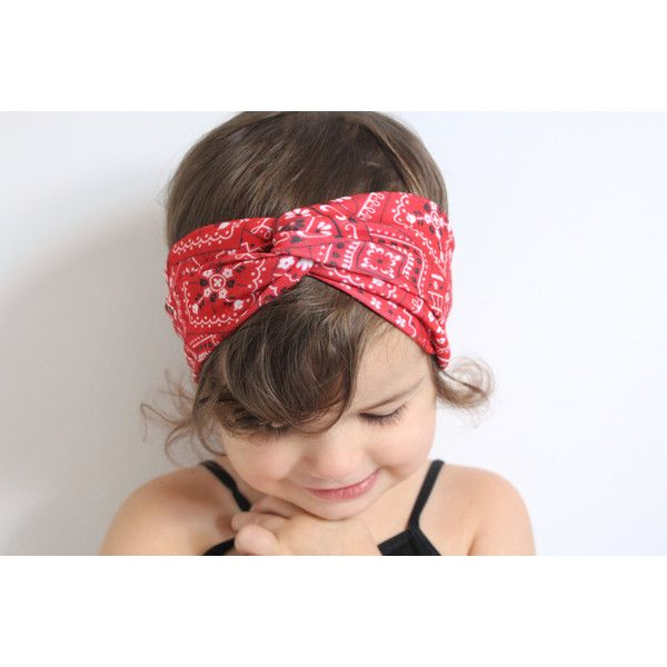 Red Bandana Turban Headband Baby Turban Headband Baby Head Wrap... ($15) ❤ liked on Polyvore featuring accessories, hair accessories, black, headbands & turbans, black red bandana, red headband, black bandana, red hair accessories and head wrap headband