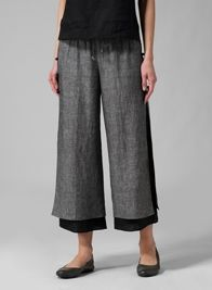 Linen Double-Layer Cropped Pants to where with tunic from Shanghai.