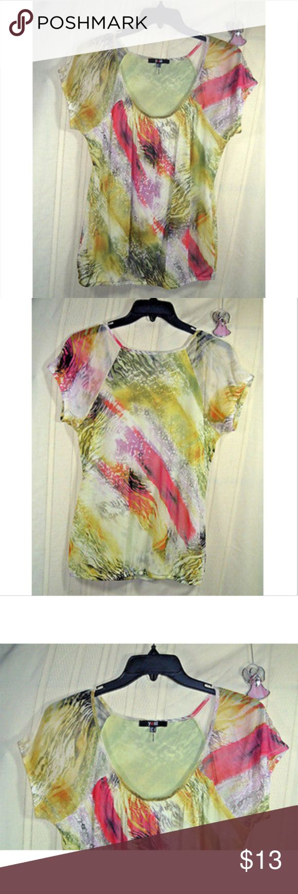 """Yest Womens Blouse Sz S Multi-Colored Brand:  Yest  Condition:  Pre-owend.  Material tag removed.  Details:  Womens blouse, multi-colored with shades of green, red, purple, yellow and  black watercolor, short sleeve, lined except for the sleeves  Womens size S  All measurements are measured with the article laying flat, the chest measurements are doubled and rounded to the nearest inch.  Length:  25 1/2"""" Chest:  37""""  Material:  Unknown Tags removed Yest Tops Blouses"""