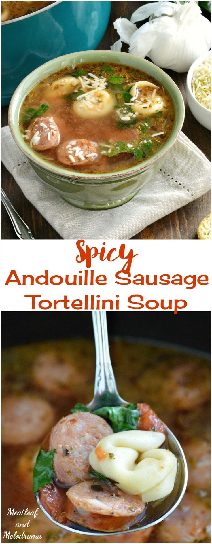 Spicy Andouille Sausage Tortellini Soup is a blend of Cajun and Italian flavors and can be ready in 30 minutes or made in the slow cooker ( Crock-Pot ). Perfect comfort food for chilly days!