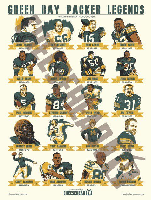 Cheesehead TV is proud to launch a limited edition poster The Green Bay Packer Legends.