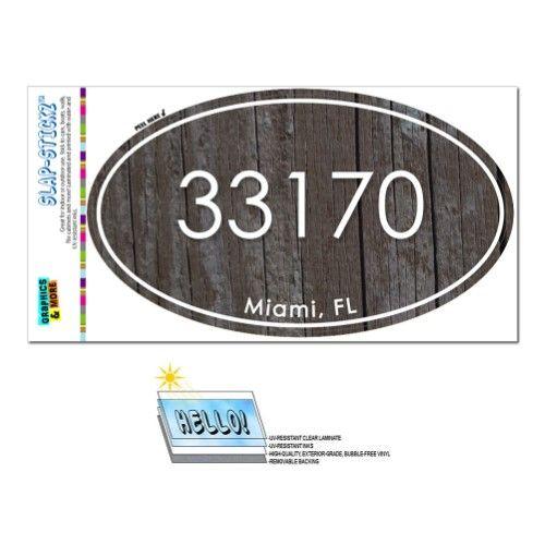33170 Miami, FL - Unisex Wood - Oval Zip Code Sticker
