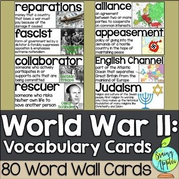 World War II vocabulary/word wall cards. This resource includes 80 vocabulary cards that will enhance any WW2 unit.