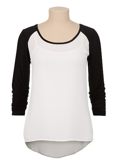 High-low Chiffon contrast sleeve blouse (original price, $29) available at #Maurices