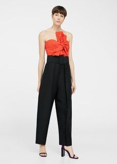 Pantalon lin ceinture -  Femme | MANGO France