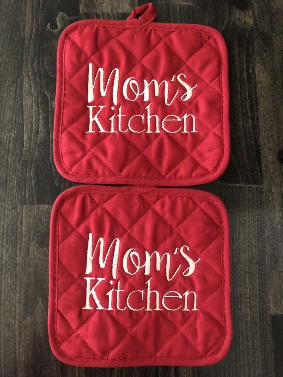 Personalized Embroidered Pot Holders Monogram Pot Holders Hot Pads Birthday Gift Kitchen Accesso Hot Pads Pot Holder Crafts Pot Holders