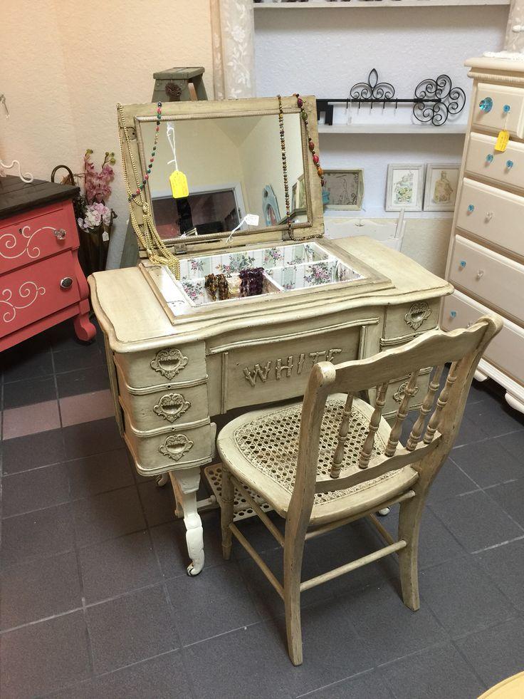 antique sewing machine vanity