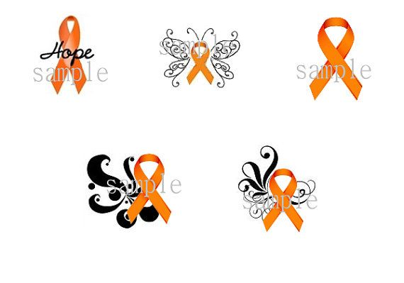 100 Orange Ribbon Multiple Sclerosis Nail Art Designs Decals - 20 each Design Free shipping