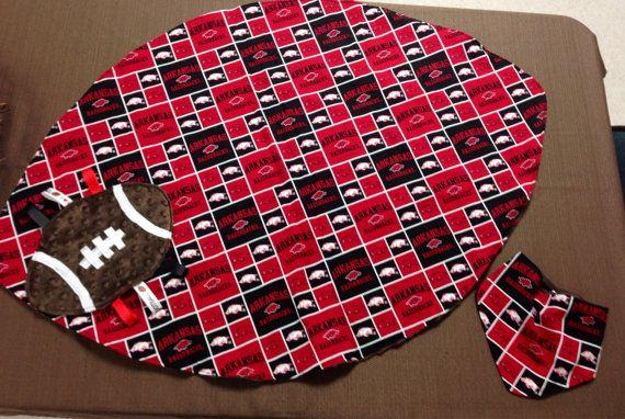 3 Piece Arkansas Razorback Baby Gift Set Blanket by SewLovedGifts