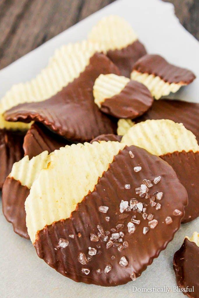 Dark chocolate potato chips with salt
