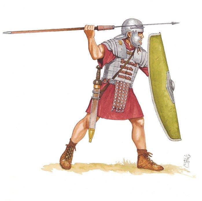 Римский легионер, первая половина I века н.э. Художник Carlos Fernandez del Castillo.