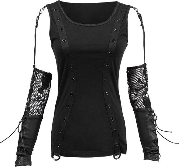 Punk Rave women's top with skull-mesh sleeves http://www.the-black-angel.com/gothic-longsleeves-women/1324-punk-rave-mesh-sleeves-skull.html