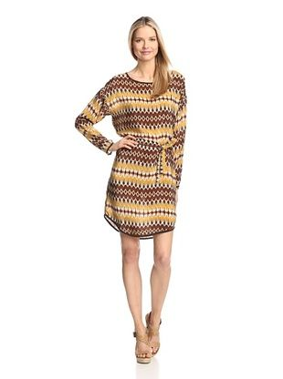 55% OFF Tolani Women's Long Sleeve Dress (Brown/Yellow)