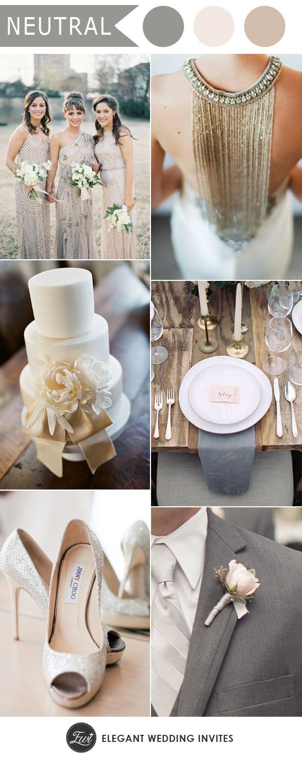 legant silver and ivory neutral wedding colors for 2017 wedding trends